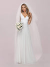 Romantic V Neck Tulle Wedding Dress With Appliques-Cream 5
