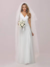 Romantic V Neck Tulle Wedding Dress With Appliques-Cream 7