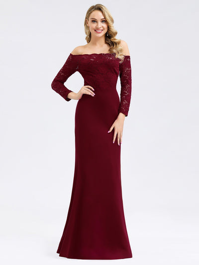 Elegant Off Shoulder Bridesmaid Dress with Lace Sleeves