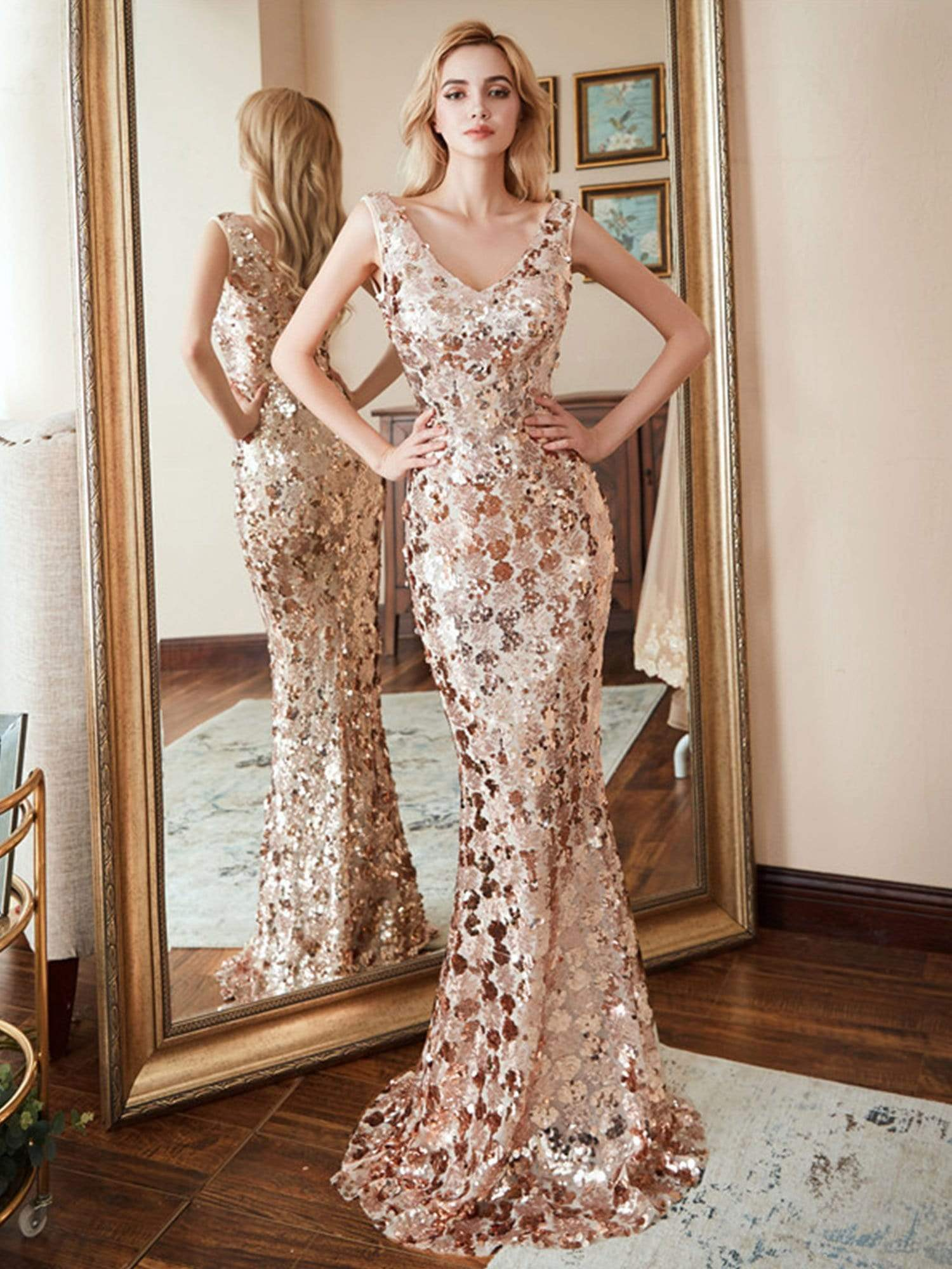 Ever-Pretty Fishtail Rose Gold Sequin Dresses for Women - Ever