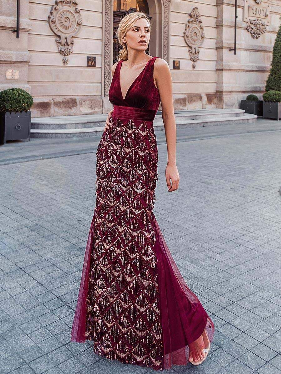 Ever Pretty burgundy formal occasion dress