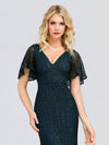 Deep V Neck Shiny Fishtail Evening Dress With Flutter Sleeves-Dusty Navy 5