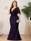 Deep V Neck Shiny Fishtail Evening Dress With Flutter Sleeves-Dark Purple 8