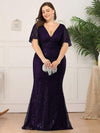 Deep V Neck Shiny Fishtail Evening Dress With Flutter Sleeves-Dark Purple 9