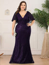 Plus Size Deep V Neck Fishtail Evening Dress With Flutter Sleeves-Dark Purple 1