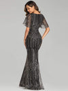 Deep V Neck Shiny Fishtail Evening Dress With Flutter Sleeves-Gold 2