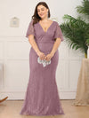 Plus Size Deep V Neck Shiny Fishtail Evening Dresses-Purple Orchid 4