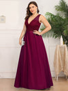 Deep V Neck Floor Length Plus Size Sparkly Evening Gown Dresses-Burgundy 3