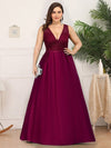 Deep V Neck Floor Length Plus Size Sparkly Evening Gown Dresses-Burgundy 1