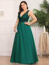 Deep V Neck Floor Length Plus Size Sparkly Evening Gown Dresses-Dark Green 3