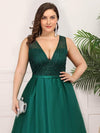 Deep V Neck Floor Length Plus Size Sparkly Evening Gown Dresses-Dark Green 5