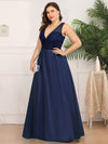 Deep V Neck Floor Length Plus Size Sparkly Evening Gown Dresses-Navy Blue 3