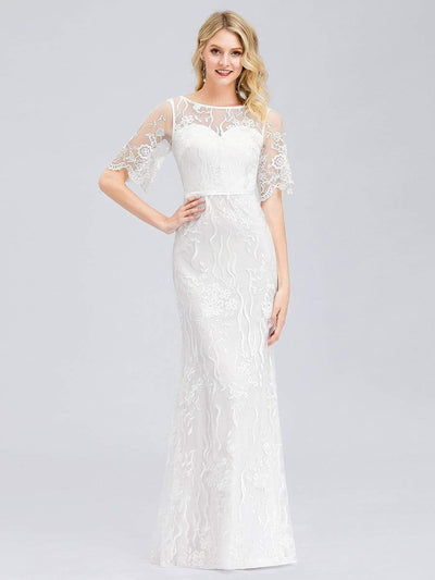 Women's Romantic See Through Fishtail Wedding Dress