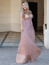Romantic V-Neck Embroidery Maxi Bridesmaid Dress-Pink 4
