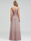 Romantic V-Neck Embroidery Maxi Bridesmaid Dress-Pink 6