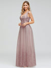 Romantic V-Neck Embroidery Maxi Bridesmaid Dress-Pink 7