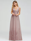 Romantic V-Neck Embroidery Maxi Bridesmaid Dress-Pink 8