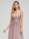 Romantic V-Neck Embroidery Maxi Bridesmaid Dress-Pink 9