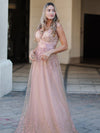 Romantic V-Neck Embroidery Maxi Bridesmaid Dress-Pink 1