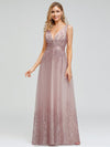 Romantic V-Neck Embroidery Maxi Bridesmaid Dress-Pink 5
