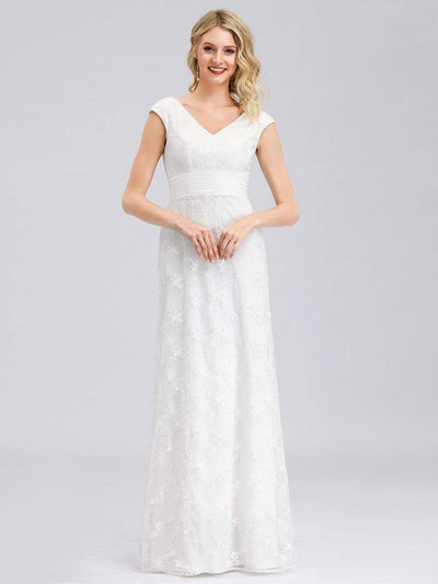 Women's V-Neck Cap Sleeve Floral Lace Wedding Dress