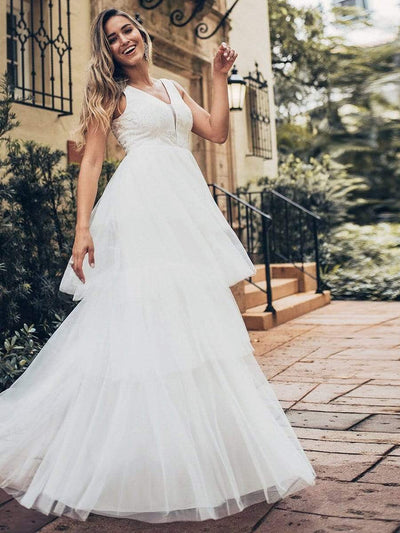 Women's Double Deep V Neck Wedding Dresses