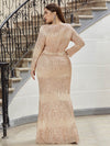 Plus Size Women'S Deep V-Neck Sequin Evening Dress With Long Sleeve-Rose Gold 2