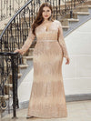 Plus Size Women'S Deep V-Neck Sequin Evening Dress With Long Sleeve-Rose Gold 4