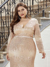 Women'S Deep V-Neck Sequin Evening Dress With Long Sleeve-Rose Gold 10
