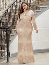 Plus Size Women'S Deep V-Neck Sequin Evening Dress With Long Sleeve-Rose Gold 1