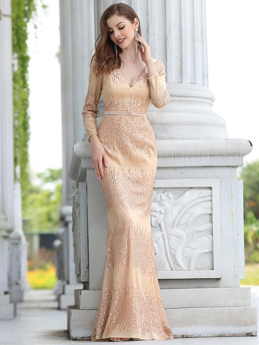 Ever Pretty nude sequins occasion bridesmaid dress