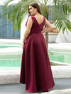 Plus Size Women's V-Neck High Low Cocktail Party Maxi Dress-Burgundy 2