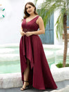 Plus Size Women's V-Neck High Low Cocktail Party Maxi Dress-Burgundy 3