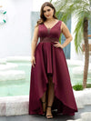 Plus Size Women's V-Neck High Low Cocktail Party Maxi Dress-Burgundy 4