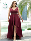 Plus Size Women's V-Neck High Low Cocktail Party Maxi Dress-Burgundy 1