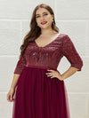 Plus Size Women'S Fashion V-Neck Floor Length Evening Dress-Burgundy 5