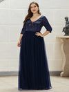 Plus Size Women'S Fashion V-Neck Floor Length Evening Dress-Navy Blue 4