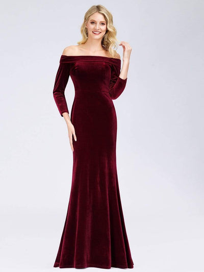 Off the Shoulder Velvet Evening Maxi Dress with Long Sleeve