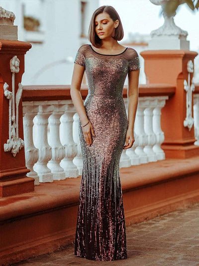Women's Cap Sleeve Sequin Dress Mermaid Party Dress