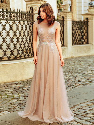 Women's A-Line See-through Cap Sleeve Evening Dress