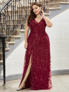 Women'S V-Neck Embroidery Side Split Evening Party Maxi Dress-Burgundy 9