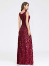 Women'S V-Neck Embroidery Side Split Evening Party Maxi Dress-Burgundy 2