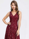 Women'S V-Neck Embroidery Side Split Evening Party Maxi Dress-Burgundy 5