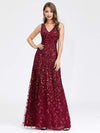 Women'S V-Neck Embroidery Side Split Evening Party Maxi Dress-Burgundy 1