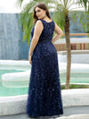 Women'S V-Neck Embroidery Side Split Evening Party Maxi Dress-Navy Blue 7