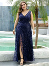 Women'S V-Neck Embroidery Side Split Evening Party Maxi Dress-Navy Blue 6