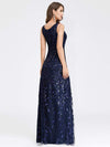Women'S V-Neck Embroidery Side Split Evening Party Maxi Dress-Navy Blue 2