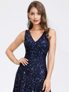 Women'S V-Neck Embroidery Side Split Evening Party Maxi Dress-Navy Blue 5