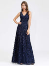 Women'S V-Neck Embroidery Side Split Evening Party Maxi Dress-Navy Blue 1
