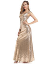 Women'S Double V-Neck Wrap Sequin Dress Bodycon Evening Dress-Rose Gold 3